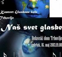 """Koncert Glasbene šole Trbovlje """"naš svet glasbe"""" bo 16. maja"""