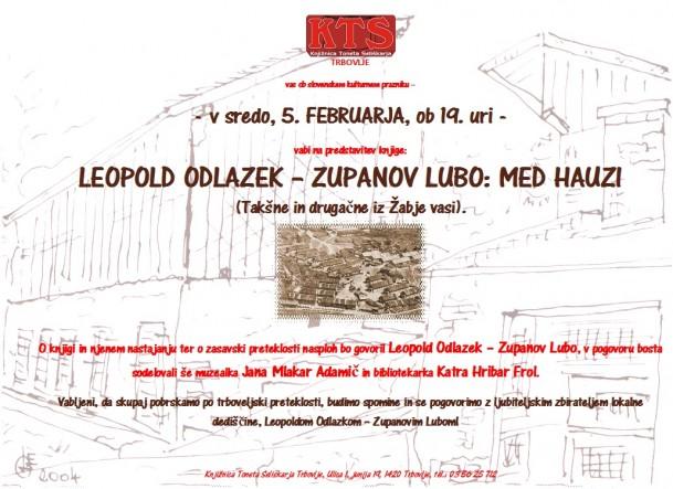 KTS Trbovlje, predstavitev knjige, Leopold Odlazek, Med hauzi, 5.2.2014