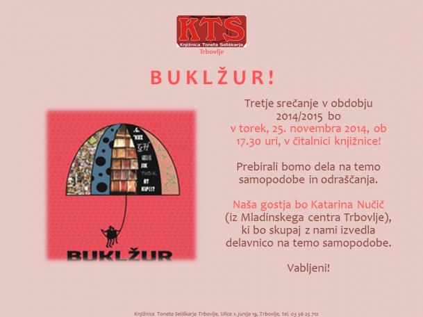 KTS Trbovlje, Buklžur, Samopodoba, Katarina Nučič, 25.11.2014