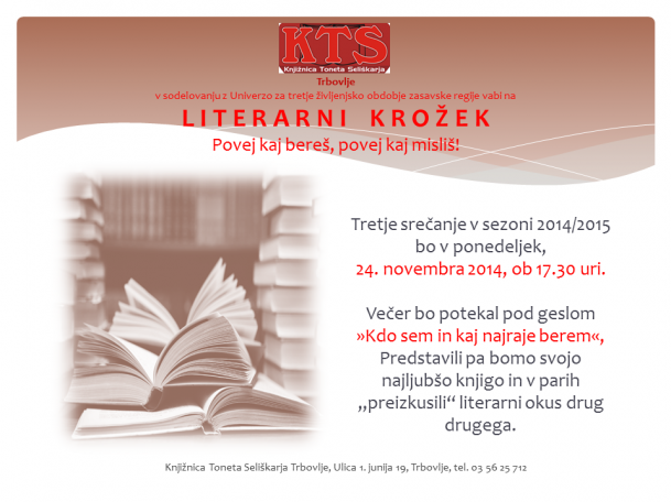 KTS Trbovlje, Literarni krožek, november 2014, vabilo