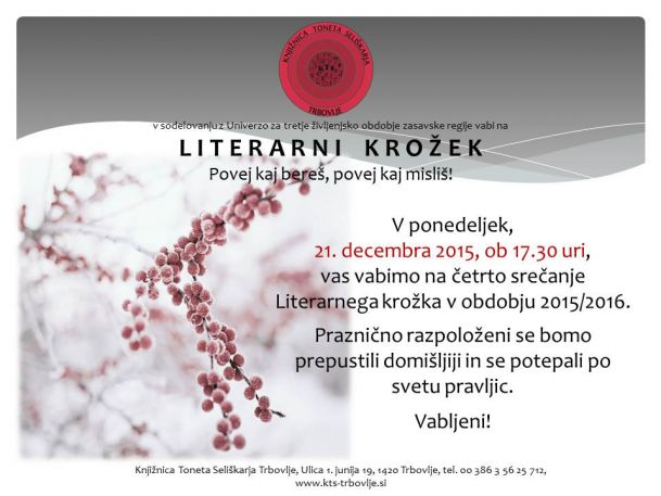 KTS Trbovlje, Literarni krožek,21.12.2015