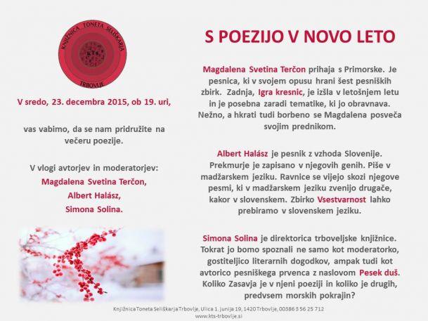 KTS Trbovlje, S poezijo v novo leto, 23.12.2015