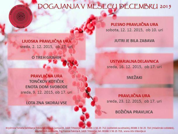 KTS Trbovlje, napovednik, mladinski oddelek, december 2015