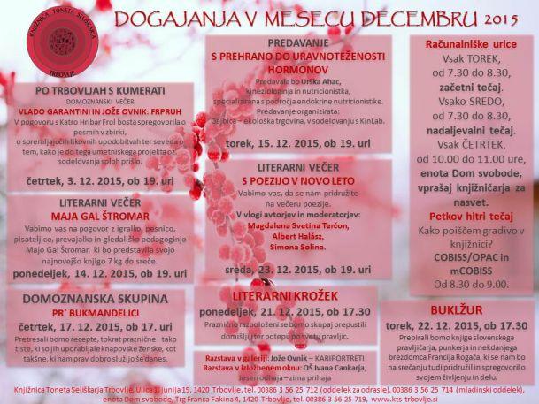 KTS Trbovlje, napovednik, oddelek za odrasle, december 2015