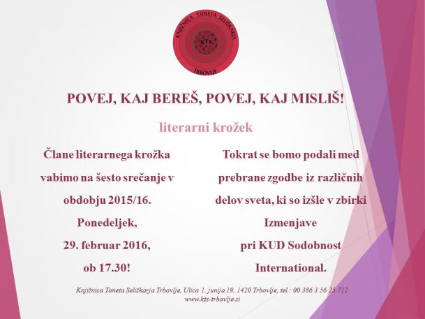 KTS Trbovlje, Literarni krožek, 29.2.2016