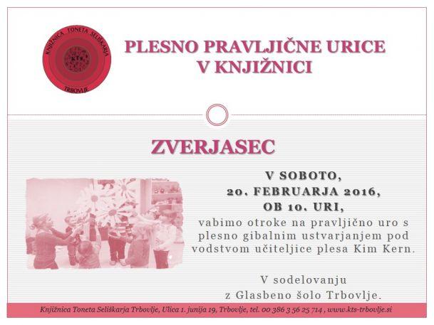KTS Trbovlje, Plesno pravljična ura, Zverjasec, 20.2.2016