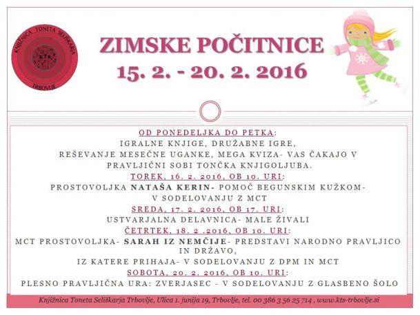 KTS Trbovlje, Zimske počitnice, 15.2-20.2.2016