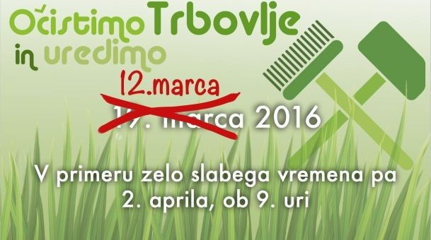 """Akcija """"Očistimo in uredimo Trbovlje"""" bo potekala 12. marca"""