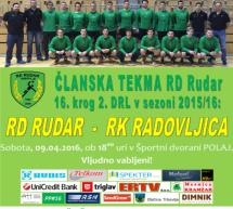 Vabljeni na zadnjo domačo člansko tekmo RD Rudar v sezoni 2015/16