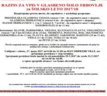 Razpis za vpis v Glasbeno šolo Trbovlje za šolsko leto 2017/18