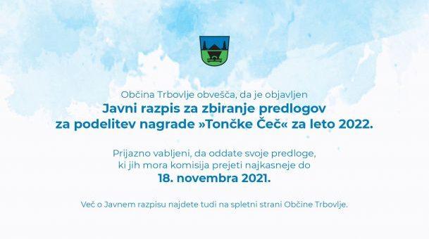 Javni razpis za zbiranje predlogov za podelitev nagrade »Tončke Čeč«